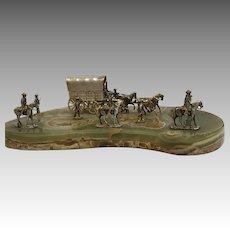 Westward Ho Sterling Tableau Stagecoach Cowboys Vasari Gorham Gifts