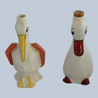 Two Art Deco Small Bird Liqueur Bottles Garnier France