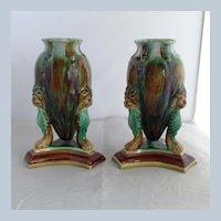 Pair Majolica Lion Tortoise Glaze Vases England 19th c