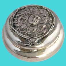 Repousee Ladies Face Sterling Hinged Box Victorian
