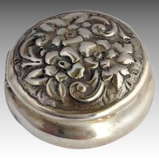 Pill Box Sterling Krider Repousse Flowers Hinged