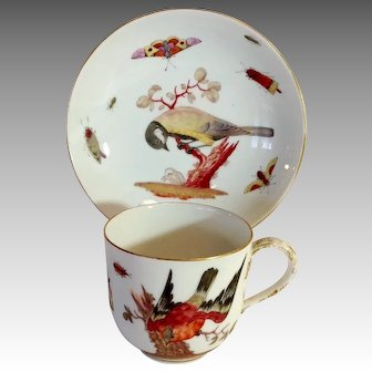 Meissen Ornithological Coffee Cup and Saucer Birds and Insects 18th