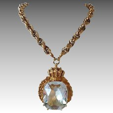Nettie Rosenstein Diamond Huge Rock Necklace on Chain Heavy Gold Plated