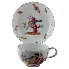 Meissen Bird and Insects Cup and Saucer 18th c