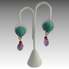 """Rebecca Collins Earrings Turquoise Amethyst Dangle Sterling 1 1/2"""""""