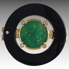 Coro Craft Faux Jade Onyx Pin