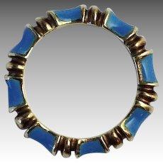 Bamboo Gold Stack Ring Blue Enamel Sz 4.8 14k
