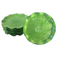 Set of 12 Lotus Green Jade Poppytrail Dinner Plates