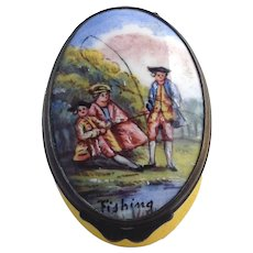 Family Fishing Battersea Enamel Box Late 18th c