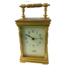 Brass Carriage Clock Nappin & Webb, London Late 19th c