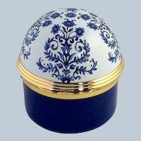 Halcyon Days Enamel Blue Floral Enamel Box