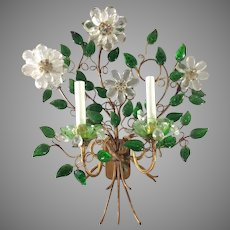 French Maison Bagues Style Green Flower Crystal Prism 2 Light Sconce