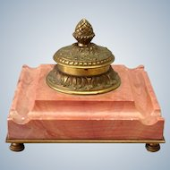Rouge Marble Gilt Bronze Inkwell 5""