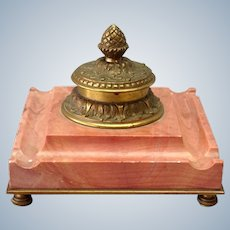 """Rouge Marble Gilt Bronze Inkwell 5"""""""