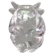 Steuben Glass Bull Hand Cooler