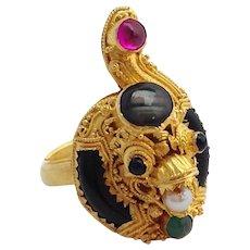 Cobra Ring Ruby Emerald 22K Gold India