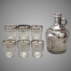 Art Deco Sterling Overlay and Enamel Decanter and Six Glasses