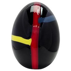 "Lino Tagliapietra Modern Blown Glass 9"" Egg  Limited Edition 1983"