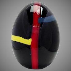 "Lino Tagliapietra Modern Blown Glass 9"" Egg  Limited Edition 1983"
