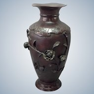 "Japanese Bronze 16"" Vase Raised Flowers Birds Signed 19th c."
