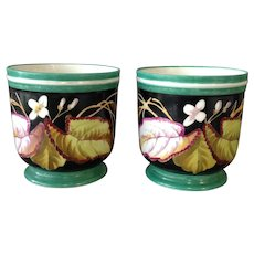 Pair of Limoges Cachepots Flowers and Leaves 5 5/8""