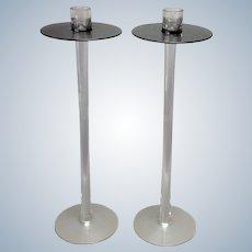 """Orrefors 16"""" Glass Candlesticks"""