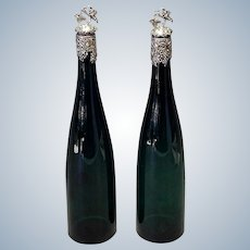 """Pair Green Glass Decanters Sterling Grape Stoppers 19th Century 14"""""""