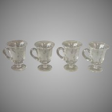 Four Pairpoint Grape Punch Cups Wheel Cut Handle
