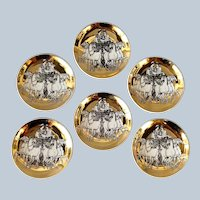 Fornasetti Gilded Roman Chariot Coasters Group of Seven