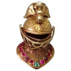Knight Helmet Fob Charm Griffin Crest Moveable Jeweled! 14 Karat