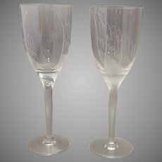 Pair of Lalique Ange Champagne Flutes