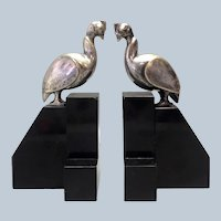 Pair G.H Laurent Peafowl Silver on Onyx Bookends