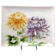 Japanese Ando Floral  Enamel Tray Paper Label