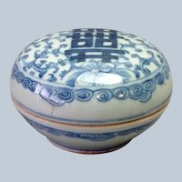 Antique Blue and White Chinese Covered Box