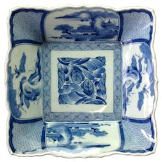 Japanese Blue and White Imari Square Dish Signed