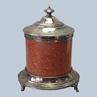Granite and Silverplate Biscuit Barrel 19th Century