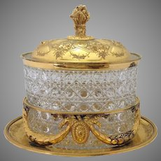Gilt Biscuit Box on Stand Cut Glass Liner by Martin Hall & Co.