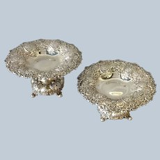 """Pair Tiffany & Co Sterling Pierced Dessert Compotes T Mark 9"""""""