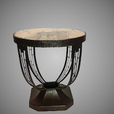 """French Art Deco Marble Top 24"""" Table 1920's"""