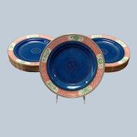 "Dozen Wedgwood Asian Powder Blue Luncheon Plates 8 7/8"""