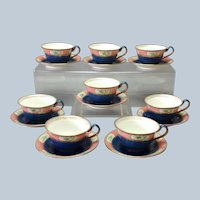 Wedgwood Pattern 785 Chinoiserie Red Oriental Blue Powder Teacup and Saucer Set