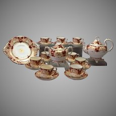 Coalport English Tea Set Victorian Burgundy Peach Gilt