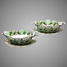 Pair Spode Pearlware Chestnut Baskets with Stands Circa 1800