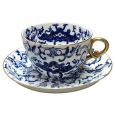 Minton Blue and White Breakfast Cup and Saucer