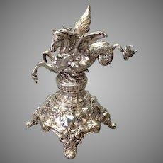 Pegasus Figural Base Silvered Bronze WMF Antique