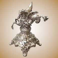 Silver Pegasus Dragon WMF Base Silvered Bronze WMF Antique