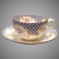 Sarreguemines Blue and White Floral Breakfast Cup