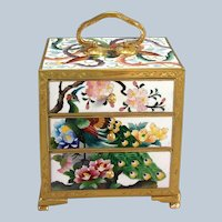 Miniature Japanese Cloisonne Three Drawer Chest by Inaba