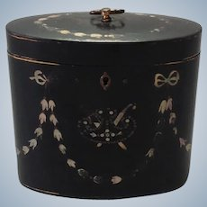 Lacquer Tea Caddy with Mother of Pearl and Silver Inlay 18th c