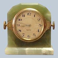 Art Deco Desk Clock Green Onyx Elgin